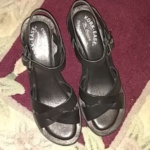 Kork-Ease Black 'Ava' Wedge Sandals